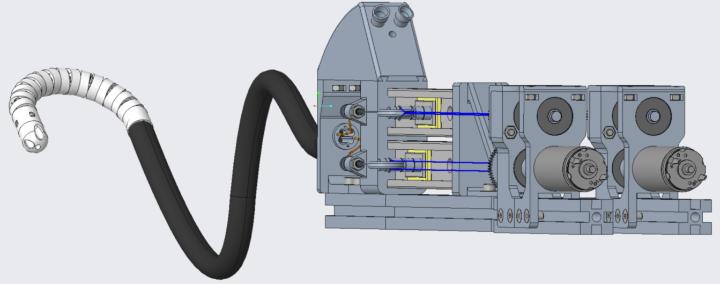 CAD model of a robotically-actuated flexible endoscope.