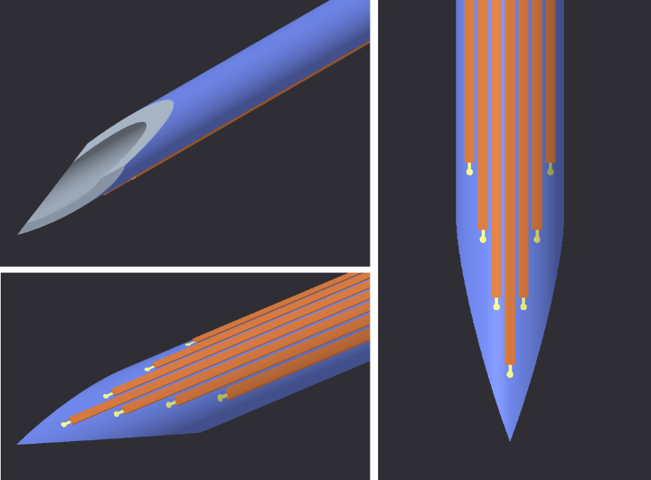 Electrodes on a needle.